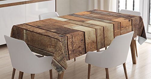 Ambesonne Wooden Tablecloth, Rustic Floor Planks Print Grungy Look Farm House Country Style Walnut Oak Grain Image, Dining Room Kitchen Rectangular Table Cover, 60 X 84 inches