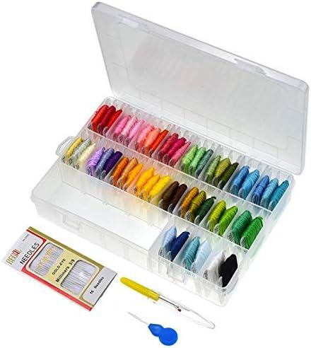 Bordado de Hilo 50 Colores Hilos de Seda del Bordado de Punto de Cruz Pulseras con Hilo Dental Herramientas Organizador Caja de Almacenamiento de Bricolaje de Costura ZHQHYQHHX: Amazon.es: Hogar