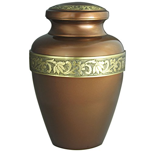 Funeral Urn by Meilinxu- Cremation Urn for Human Adult Ashes and Memorial -Hand Made in Brass with Delicate Enamel Design- Display Burial Urn At Home or in Niche at Columbarium (Avalon Brown Large Urn