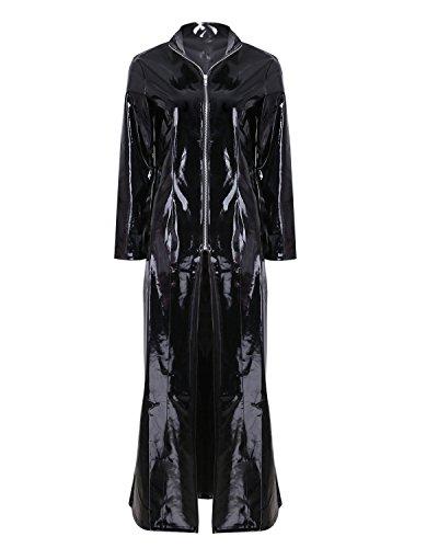 iiniim Men Women PVC Leather Long Sleeve Cloak Coat Clubwear Club Party Costume Black XL (Sexy Gay Halloween Costumes)