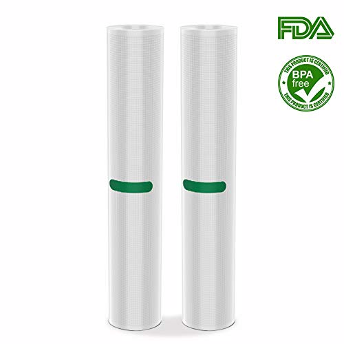 2 Packs of Vacuum Sealers Bags 11″ x 10′ Rolls Thicker Heavy-Duty Commercial Quality Textured Vacuum Sealer Bags for Food Storage Saver Sous Vide Cooking BPA Free and FDA Approved