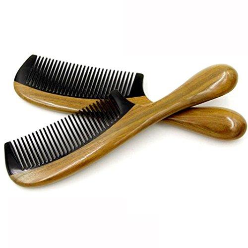 Fabal Wave Shape Handle Natural Green Sandal Wood Ox Buffalo Horn Hair Comb (Brown) ()