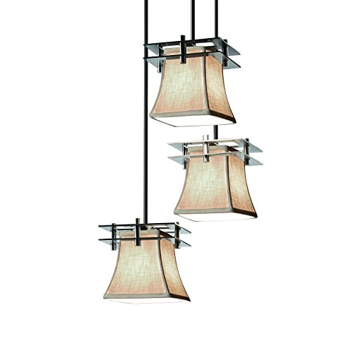 Justice Design Group Lighting FAB-8166-40-CREM-NCKL-BKCD Textile Metropolis 3-Light Cluster Pendant Square Flared Brushed Nickel Finish and Cream Fabric Shade