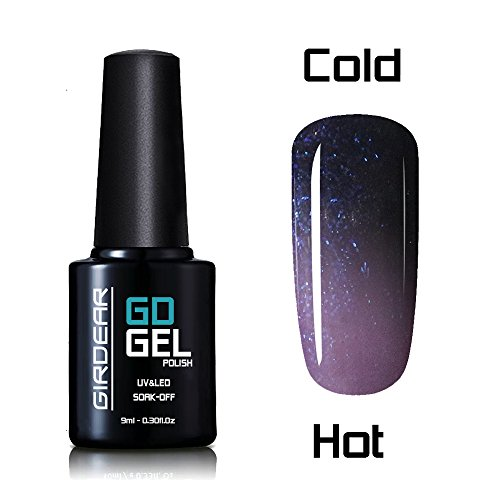 Girdear Thermal Temperature Color Changing Gel Nail Polish Soak Off UV LED Nail Lacquer #9047