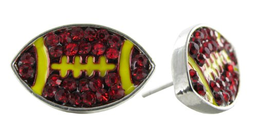 Flat Football Rhinestone Stud Earrings - Dark Red Burgandy Crystal Football with Yellow Enamel Stripes
