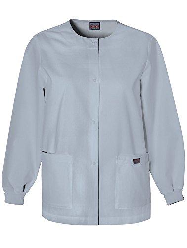 Cherokee Women's Ww Snap Front Warm-up Jacket, Grey, XX-Small