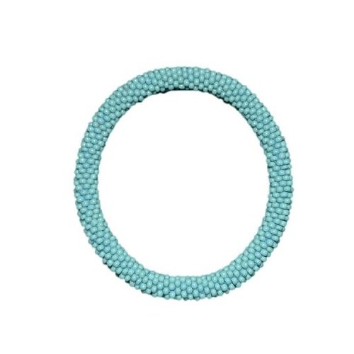 Turquoise Blue Crocheted Beaded Bracelet, Czech Seed Beads,Nepal,SB100