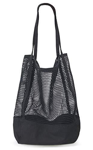 Mesh Beach Canvas Tote Womens Shoulder Handbag (Black)