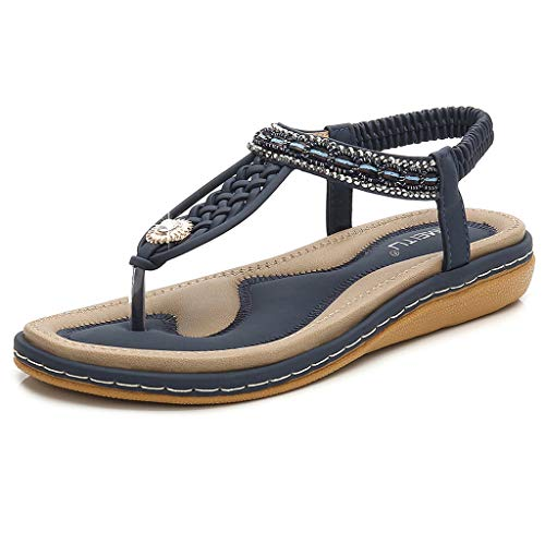 (HAPPYSTORE Women Sandals Summer Crystal Cross Strap Woven Ankle Toepost Flat African Roman Shoes Blue)