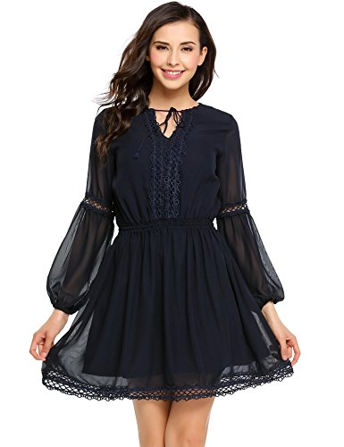 Cidere Women Sexy Lace Dress Ruffled Collar Long Sleeve Flounce - Lace Dress Flounce
