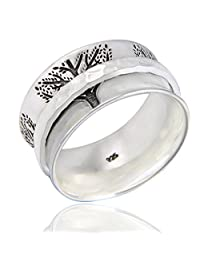 Energy Stone Fortitude Sterling Silver Meditation Spinner Ring (Style# SR64)