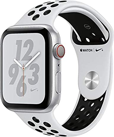 Apple Watch Series 4 (GPS+Cellular) Aluminum Case Unlocked Compatible with  iPhone 5s and Above (Nike+ Edition Silver Aluminum Case with Pure ...