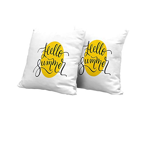 Stool Cushion Cover Hello Summer,Abstract Retro Style Lettering in Black Font Across a Round Shape in Yellow,Mustard Black Square Euro Sham Cushion Cover 14x14 INCH ()