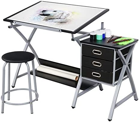 YAHEETECH Drawing Drafting Table Craft Versatile Desk Tabletop Tilted Adjustable Folding Board Art Workstation w Stool and 3 Storage Drawer