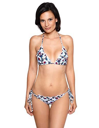 RELLECIGA Women's White Floral Wavy Triangle Bikini Set Brazilian Swimwear Size Small
