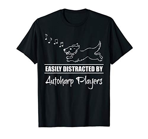 Running Dog Easily Distracted by Autoharp Players Whimsical T-Shirt