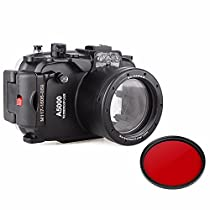 EACHSHOT 40m 130ft Waterproof Underwater Diving Camera Case For Sony A5000 16-50mm + 67mm Red Filter