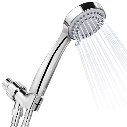 Adoric High Pressure Handheld Shower Head w/ Water Saving Mode Long Flexible Stainless Steel Hose Adjustable Mount, Best for Massage, Rainfall, Spa - Chrome