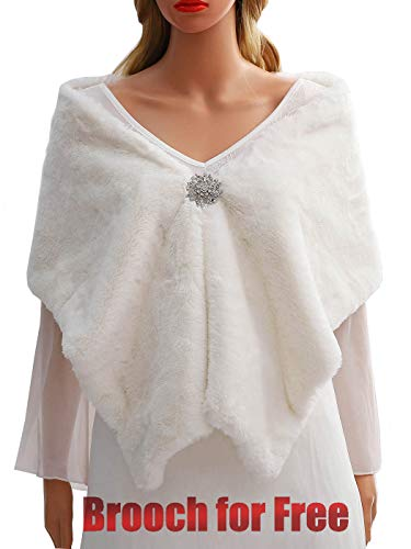 Drecode Women's Wedding Faux Fur Shawl Wrap Bridal Fur Stole Fur Scarf for Women and Girls (White)