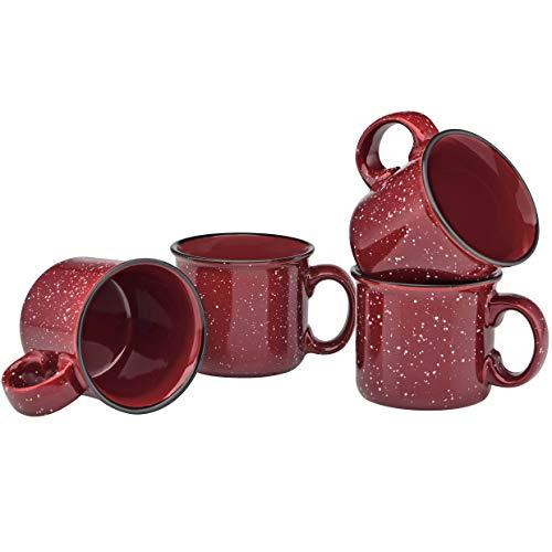 Ceramic Campfire Mug - Culver 14-Ounce Campfire Ceramic Mug Set of 4 (Burgundy)
