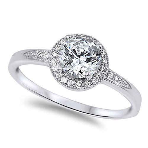 Oxford Diamond Co Halo Set Solitaire Cubic Zirconia Promise Engagement Ring .925 Sterling Silver Ring Size 10