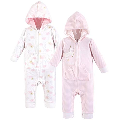 Yoga Sprout Unisex Baby Jumpsuit, Unicorn Fleece Coverall 2-Pack, 12-18 Months (18M)