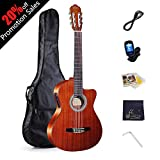 WINZZ Classic Cutaway Acoustic Electric Guitar with Strings, Bag, Cleaning Cloth, Tuner