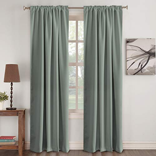 Turquoize Window Treatments Drapes Room Darkening Curtain Panels Back Tab/Rod Pocket Curtain Panels for Living Room Thermal Insulated Noise Reducing Window Curtain 52
