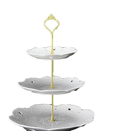 3 Tier Hardware Crown Cake Plate Stand Cupcake Dessert Display Stand Handle for Wedding Party Table Decor (Gold) by Baost (Image #1)
