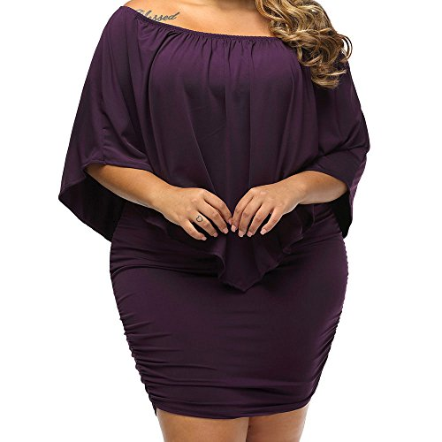 Eiffel Women's Elastic Off Shoulder Ruffled Sleeve Multi Layer Dress Bodycon (XX-Large, Purple)