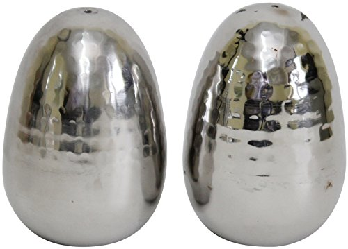 Hammered Stainless Steel Salt and Pepper Holder/Egg - Gefen Egg