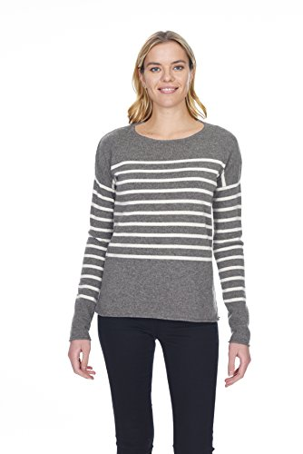 (State Cashmere Women's 100% Pure Cashmere Striped Crewneck Sweater)