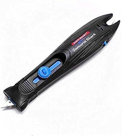 Afilador de Cuchillos de Cocina y Jamoneros, Tijeras, Hachas y Podadoras, Afilador de Cuchillos Manual con Base de Carburo - Samurai Shark
