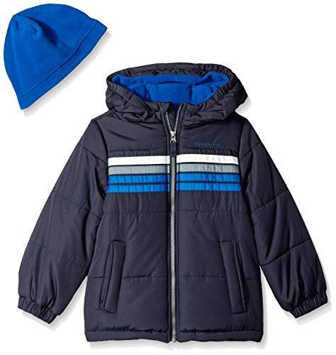 London Fog Boys' Little Heavyweight Puffer Jacket with Beanie, Real Blue, 5/6