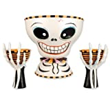 Glitterville Halloween Skeleton Mr. Bones Chip & Dip Bowl Server, 3 Piece Set