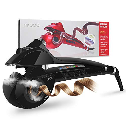 Curling Iron, MKBOO Automatic Steam Curling Wand Hair Curler with Nano Titanium Ceramic Rotating Curler, 3 Heat Levels, 3 Timer, 3 Curls Directions, Auto Off (Mk Iii Auto)