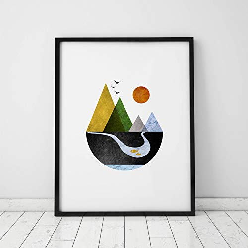 Scandinavian Art Mountains Art Print Minimal Home Decor Wall Print Geometric Art Minimalist Art Modern Wall Art Abstract Wall Art 8x10 inch No ()