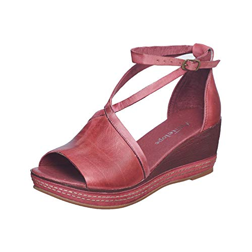 Antelope Women's 460 Bordeaux Leather Ankle Wrap Low Wedge Sandals 38