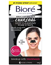 Biore Charcoal, Deep Cleansing Pore Strips for Blackhead Removal on Oily Skin, with Instant Blackhead Removal and Pore Unclogging, features Natural Charcoal, 3x Less Oily Feeling Skin, 6 Count