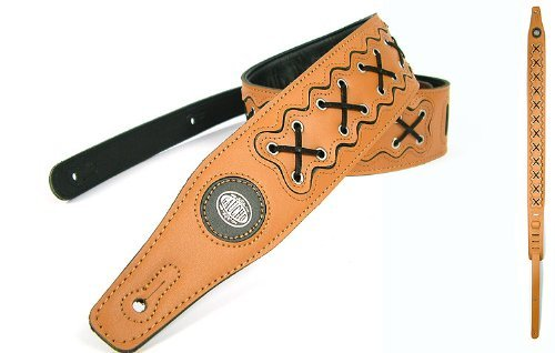 Gaucho Light Brown 'Biker Series' Leather Guitar Strap For Electric/Acoustic/Bass Guitar