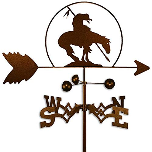 - Copper Colored Metal Racing Horse Weathervane Ranch Farm Compass Decor Weather Vanes for Rooftop Rustic Country Ranch Decorative Farmhouse Barn Vintage Antique Direction Arrow Wind, Roof Mount Steel