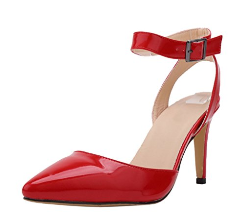Women's Elegant Sexy Ankle Strap Pointed Toe High Heel Dress Wedding Party Sandal Red Patent PU rCENOzt