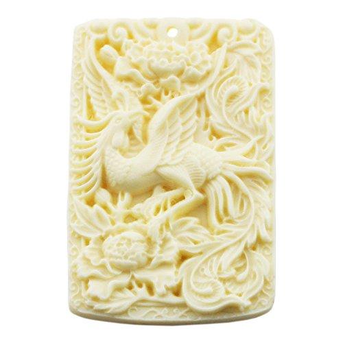 [FOY-MALL Imitation Ivory Chinese Characters Phoenix Dance Necklace Pendant D1063] (Phoenix Costume Diy)