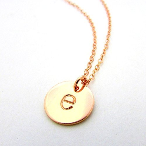 Rose Initial Necklace | Lowercase Typewriter Letter Charm | 14K Rose Gold Filled Initial Jewelry | Hand Stamped Pendant