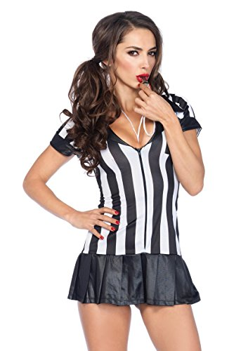 Ladies Football Halloween Costume (Leg Avenue Women's 3 Piece Referee Costume, Black/White, Small/Medium)