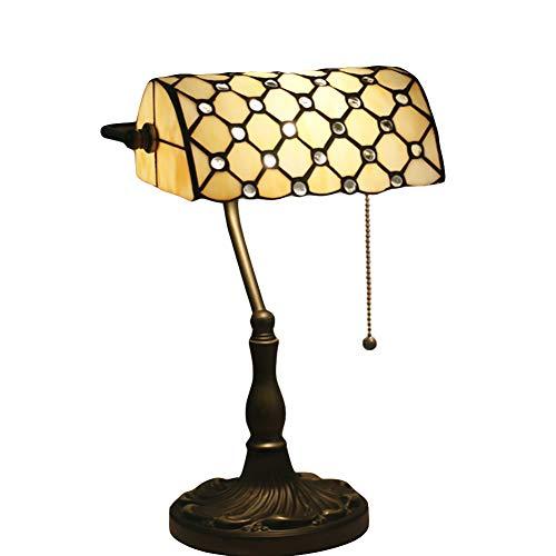 CUICAN Cristal Banco Lámpara escritorio, E27 Retro Metálica Diseño Estilo tiffany Trabajo manual Decoración Lámpara de...
