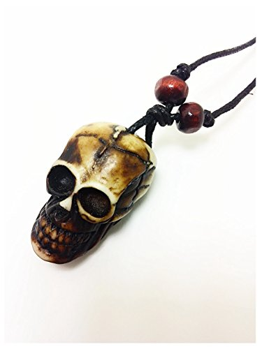 Ceramic Skull Pendant Carved OX Bones Necklace Hemp Cord Chain Halloween Jewelry -
