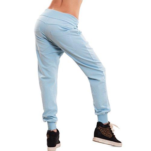 cavallo felpato basso pants cotone sport 2215 fitness Toocool Pantaloni Celeste harem donna CC zaxtFqxEwR