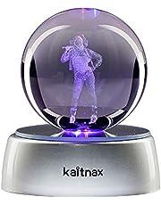 Kaitnax 3D grawerowana laserowo kryształowa kula (50 mm) lampa z podstawą LED
