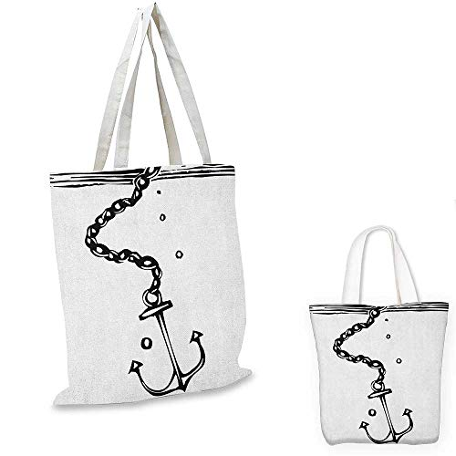 (Anchor shopping tote bag Nautical Themed Monochrome Illustration with Chains and Sinking Anchor Naval travel shopping bag Black and White. 16